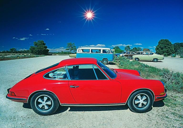 Mitchell Funk Color Photograph - Red Porsche