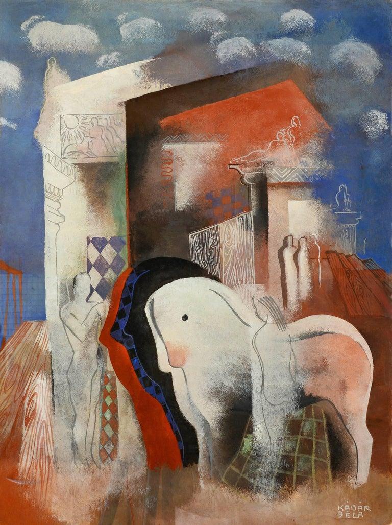 Bela Kadar Animal Painting - Art Deco Horses and Nude Figures