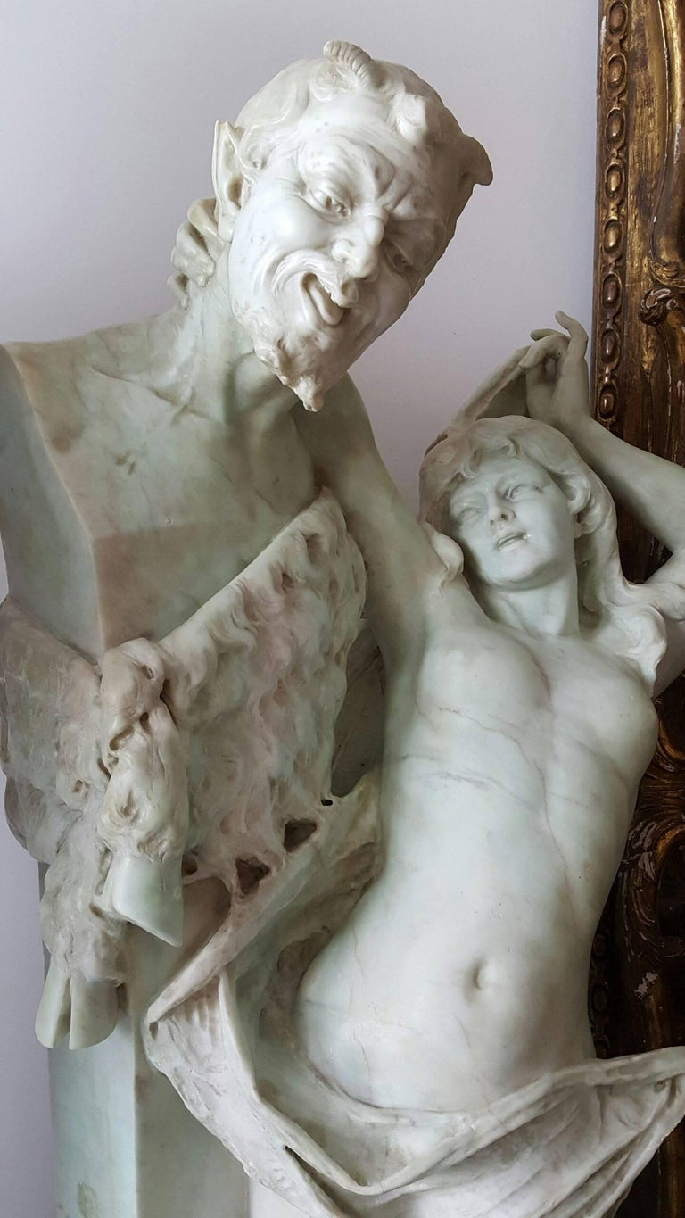 Unknown Nude Sculpture - Nude woman, Bacchante and satyr herm