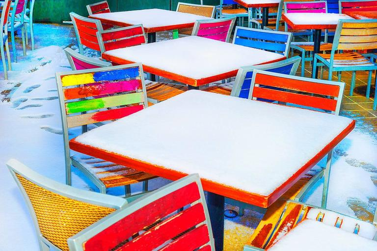 Mitchell Funk Color Photograph - Colored Tables in the Snow