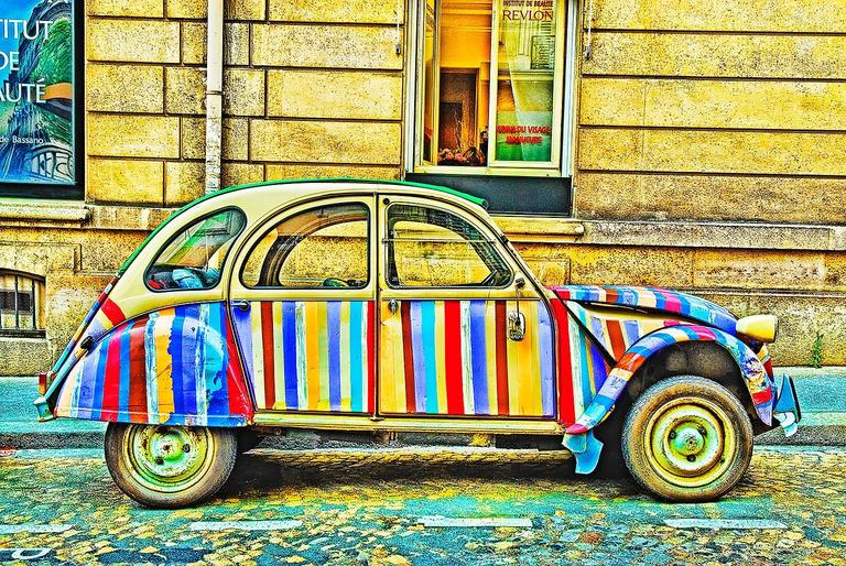 Mitchell Funk Color Photograph - Funky Car Paris