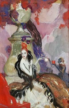 Art Deco, L'ombre d'une jeune fille en fleur, Elegant French Woman with Monkey