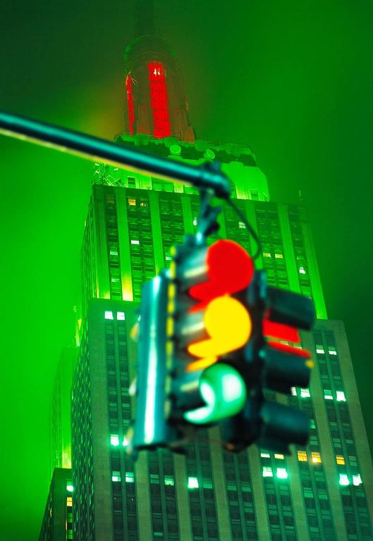 Mitchell Funk Color Photograph - Green Empire State Building