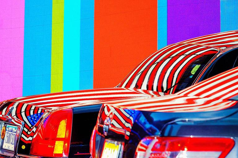 Mitchell Funk Color Photograph - Colored Cars