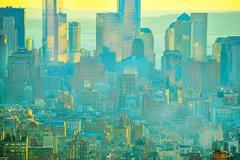 New York Skyline in Yellow and blue