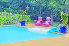 East Hampton Swimming Pool in the Rain
