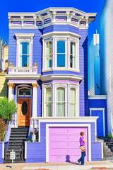 Purple San Francisco Victorian with Figure