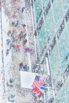 New York City Snow Scene with American Flag