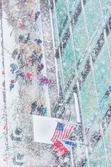 New York City Snow Scene with American Flag