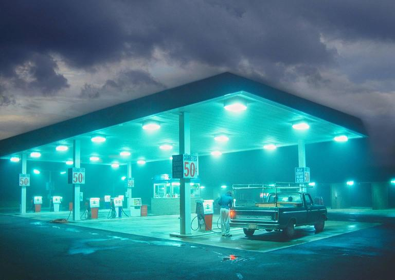Mitchell Funk Color Photograph - Glowing Gas Station