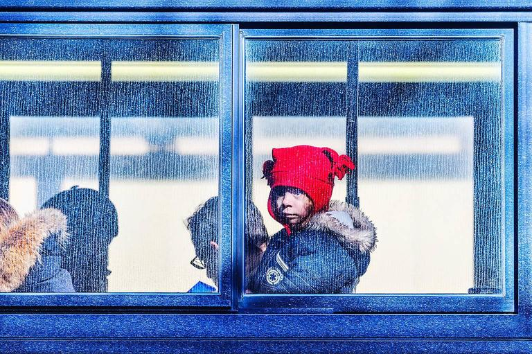 Mitchell Funk Color Photograph - Child on a bus