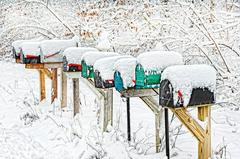 Mail Boxes in the Snow , Long Island