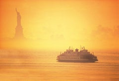Statue of Liberty and Ferry in Morning Mist