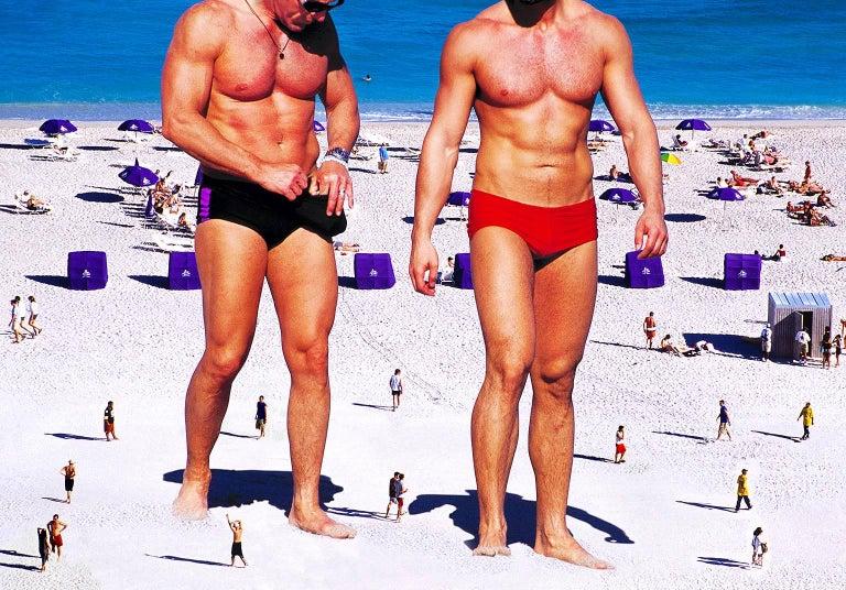 Mitchell Funk Nude Photograph - Semi Nude Men, Muscle Beach Miami Beach
