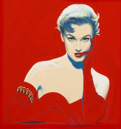 Seductive Femme Fatale  Kim Novak Look-a-like Illustration in Red