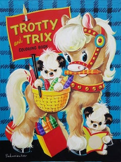 Ponies and Puppies  Trotty And Trix Coloring Book, Cover Art