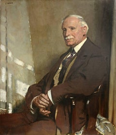 Portrait of Thomas Glass, seated half-length, in a brown three-piece suit