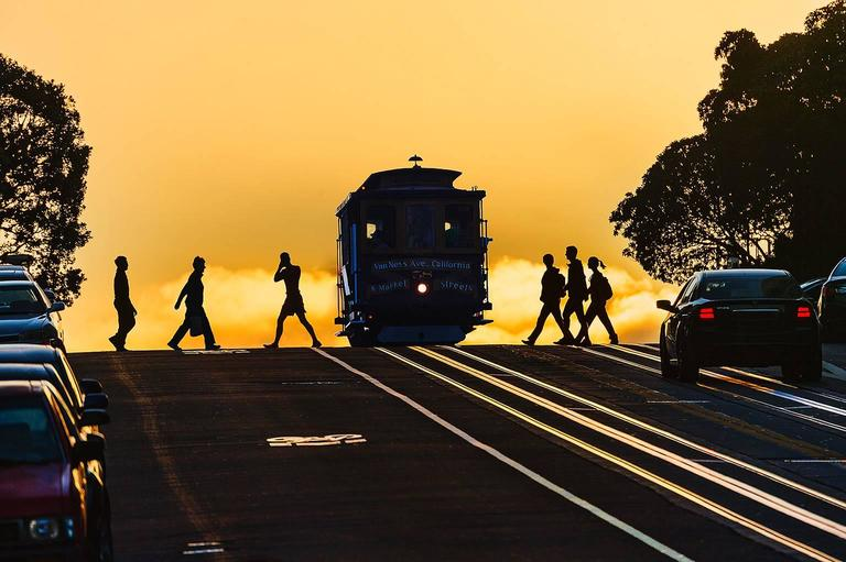 Mitchell Funk Figurative Photograph - Cable Car Silhouette at Sunset San Francisco