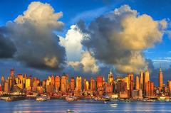 New York City Skyline with Gold light
