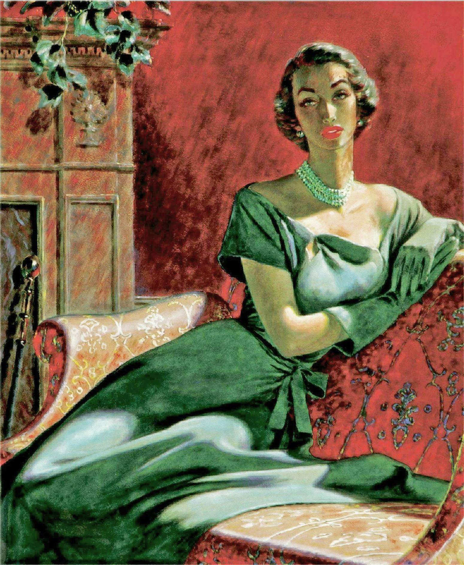 Portrait of a Woman, Woman's Magazine Illustration Mid Century