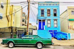 Funky Green Car in San Francisco