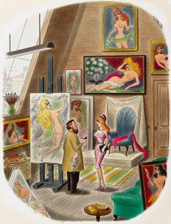 "Playboy cartoon Illustration, ""For Posing, My Terms Are a Dollar an Hour, Room,"