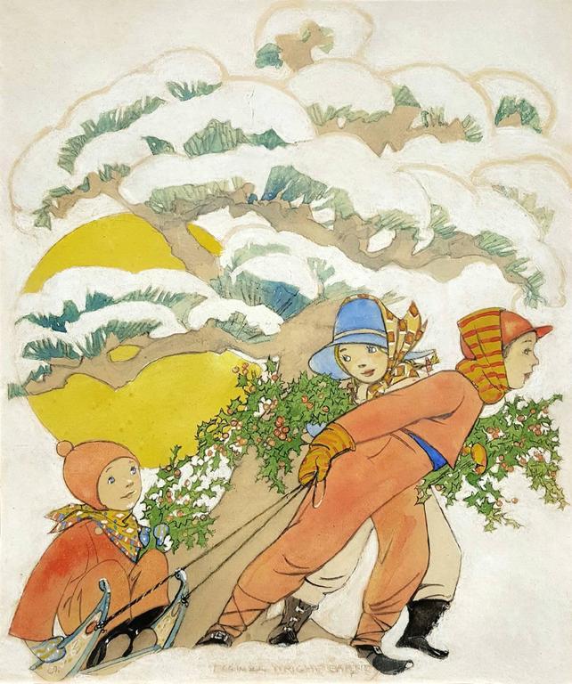 Maginel Wright Enright Barney Figurative Art - Women's World Magazine Cover Illustration , Children Sledding