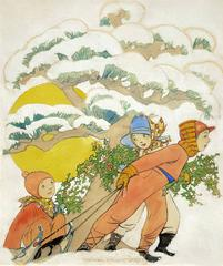 Women's World Magazine Cover Illustration , Children Sledding