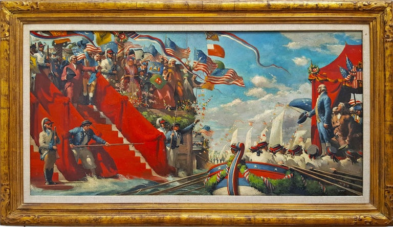 Robert Riggs Figurative Painting - George Washington in Marine Procession for New York Presidential Inauguration
