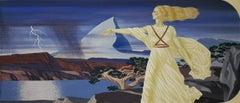 Art Deco Woman in Classical Robes set in  Stylized Landscape