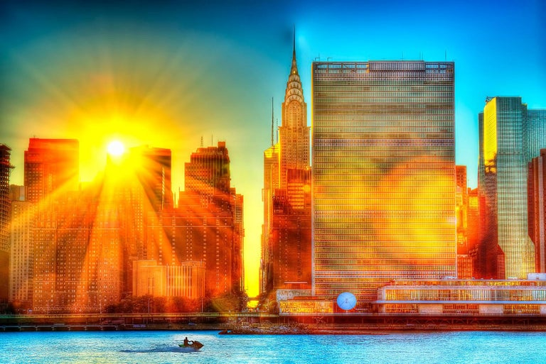 Mitchell Funk Landscape Photograph - United Nations wrapped in Divine Light