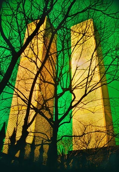 Twin Towers, World Trade Center with Green Filter