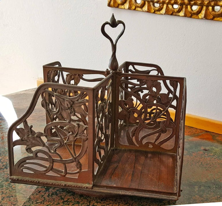 Unknown Abstract Sculpture - Rotating Art Nouveau Bookcase
