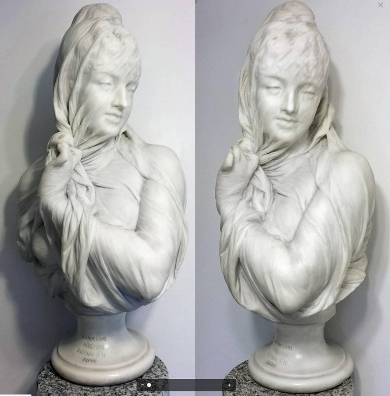 Orazio Andreoni Nude Sculpture - Veiled Female, Marble Bust,  Marble sculpture