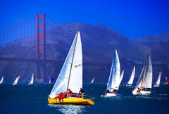 Golden Gate Bridge with Sailboat Race