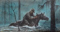 Cowboy on Horseback in the Rain