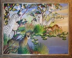 Water's Edge, (Tiger, Zebra, Leopard, Jungle  Animals )