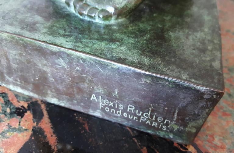 Wonderful deep rich green patina,   signed and dated on base lower right  Alexia Rudier, Foundry is the same  Foundry Rodin used