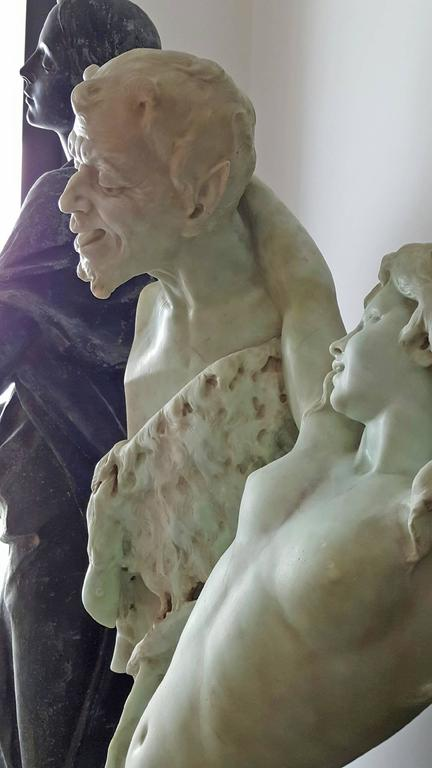 Nude woman, Bacchante and satyr herm For Sale 1