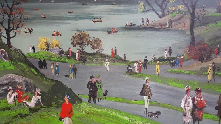 Central Park - Gray Landscape Painting by Adolf Arthur Dehn