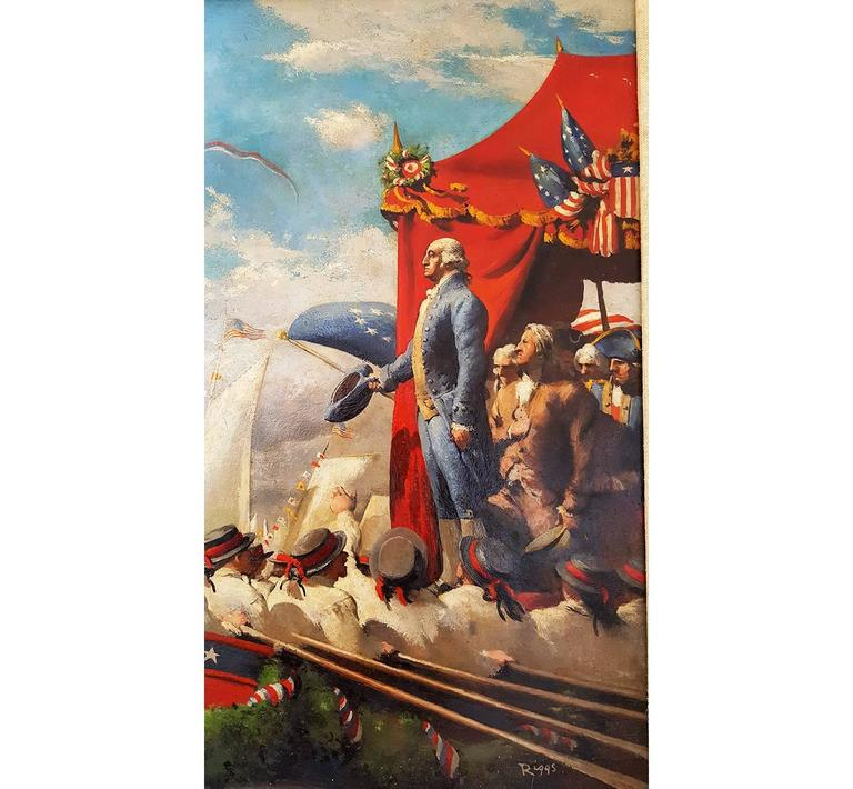 George Washington in Marine Procession for New York Presidential Inauguration  - Painting by Robert Riggs
