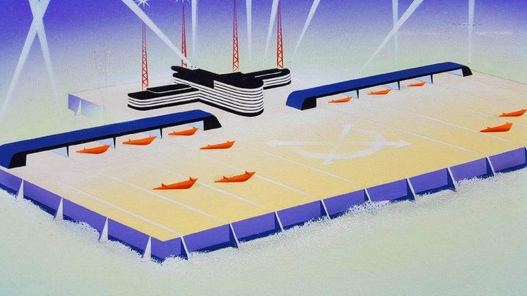 "North Pole Airport Illustration   - ""Men Who Plan Beyond Tomorrow""  - Futurist Painting by Joseph Binder"