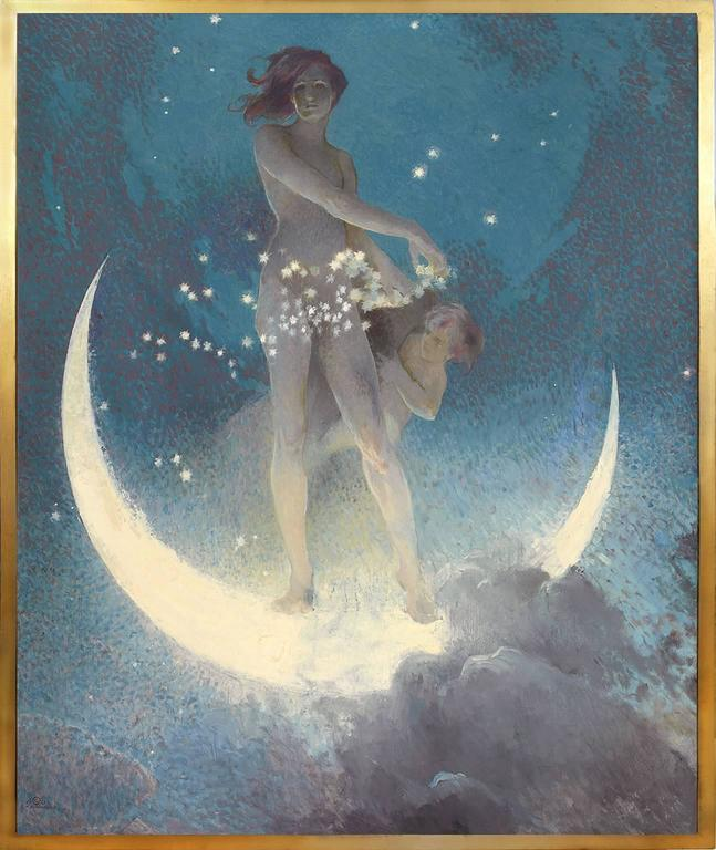 Spring Scattering Stars is a 1927 Neoclassical painting by American artist Edwin Blashfield. It depicts a nude female allegory of spring on a wet moon scattering stars throughout the sky. Signed and dated lower left. From the Estate of Charles