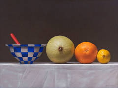 Untitled Still Life (Checkered bowl with fruit)