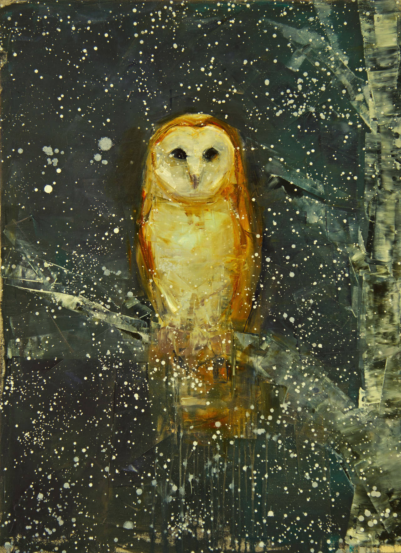 Rebecca Kinkead Barn Owl Snowy Sky Painting For Sale