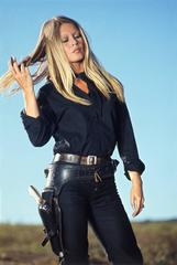 Brigitte Bardot on the set of 'Les Petroleuses', 1971