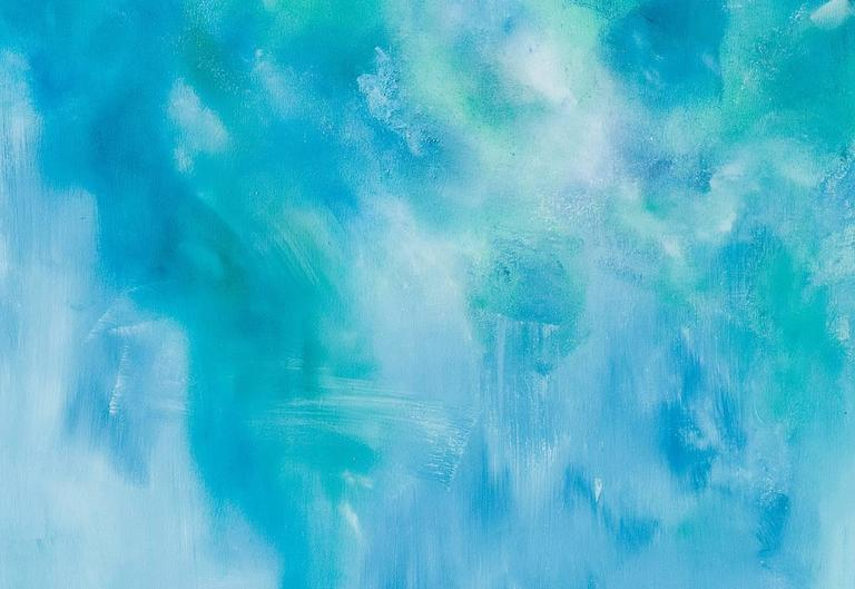 Cascade I - Blue Landscape Painting by Arica Hilton