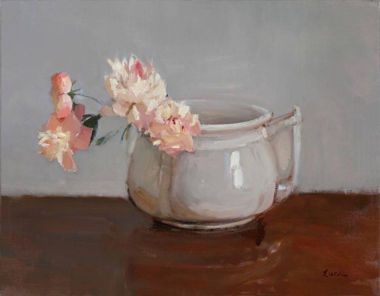 Pink Peonies in Grey Pot