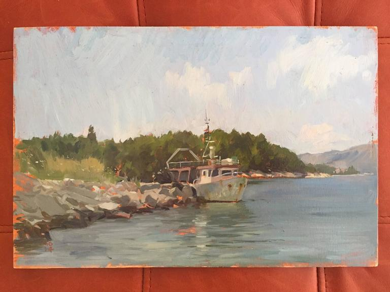 Korcula Fishing Boat - Painting by Marc Dalessio