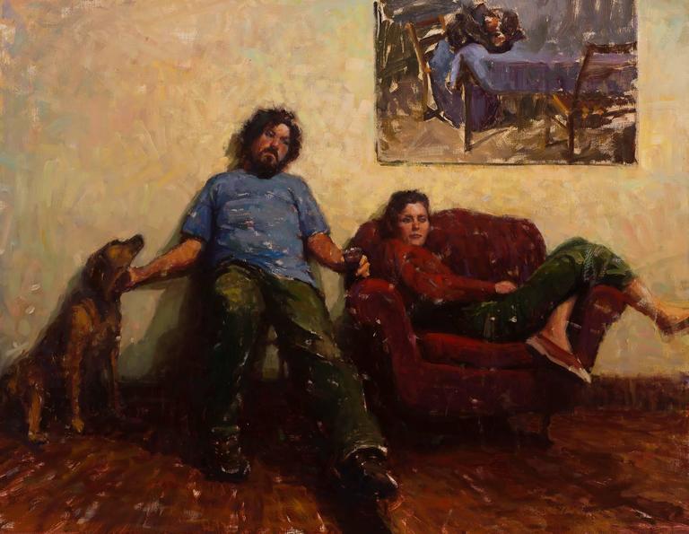 Carl Bretzke Figurative Painting - Painter Friend and Friends
